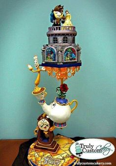 Beauty and the Beast cake. Absolutely love this! Beauty and the Beast is my moms absolute favorite!