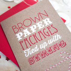 Brown Paper Packages Christmas Card por LovelyCuppa en Etsy