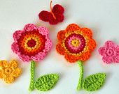 Crochet Applique Flower Motifs - Golden Fall. $6.50, via Etsy.
