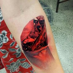 Red Ruby 3D tattoo on Arm