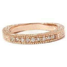 14K Rose Gold Ring .25CT Round Geniune Natural Diamond Wedding Band 14KT Pink