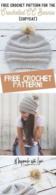 Crochet Patterns Beanie Free Crochet Pattern for the Copycat Crocheted CC Beanie – Megmade with Love Crochet Crafts, Crochet Yarn, Crochet Stitches, Crochet Projects, Free Crochet, Simple Crochet, Crochet Beanie, Knitted Hats, Knitting Patterns