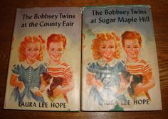 """2 BOBBSEY TWINS BOOKS #'S 15 & 39 """"AT THE COUNTY FAIR & SUGAR MAPLE HILL by HOPE"""