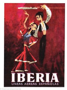 IBERIA SPANISH AIRLINES, DANCING VINTAGE GRAPHIC AIRPLANE LUGGAGE STICKER