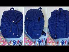how to make quilling chandbalis easy way. Crochet Backpack, Crochet Purses, T Shirt Yarn, Crochet Designs, Clutch Purse, Crochet Flowers, Crochet Projects, Lana, Knitted Hats