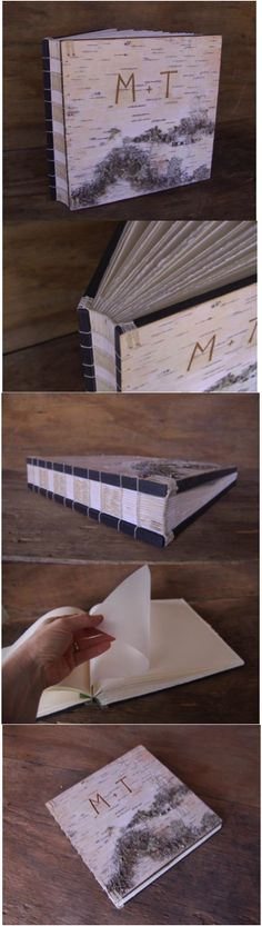 Custom hand-carved rustic birch photo album by Three Trees Bindery. Can be personalized with your initials / name and a date of your choice. Perfect for storing wedding photos.   Hatch.co