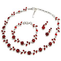 USABride Red Christmas Holiday Jewelry Floral Vine 3-Piece Necklace, Bracelet and Earrings Set 1556 R