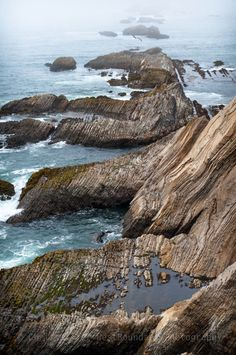 A foggy day up at Point Arena in Mendocino County. The sand stone has been tiled wildly by the San Andreas Fault.