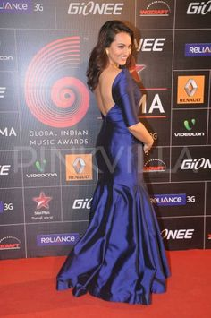 Sonakshi Sinha walking the red carpet at the GiMA Awards in a blue Gauri & Nainika gown  | PINKVILLA