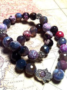 Set of two Purple Fire Agate Bracelets with Hamsa by OliviaBeryl, $39.99