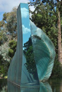 Cascade - Glass Sculpture by Sergio Redegalli. Botanic Gardens, Adelaide, Australia