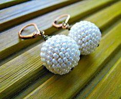 boucles doreilles peyote 3d boulesperles perles en perles japonaises miyuki blanc perle - Patre Boules Colores