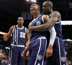 Oklahoma City's Russell Westbrook (0) between Kevin Durant (35) and Serge Ibaka (9) before getting ejected from an NBA basketball game between the Oklahoma City Thunder and the Phoenix Suns at Chesapeake Energy Arena in Oklahoma City, Wednesday, Dec. 31, 2014. Photo by Bryan Terry, The Oklahoman