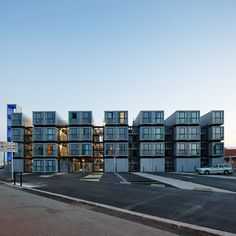 "Vernacular architecture~the use of common- to-the-geographic-area or easily obtained materials in construction. A'Dock by CATTANI Architecture is the first major ""Shipping Container Apartment"" project in France. Providing accommodation for 100 students for the nearby University."