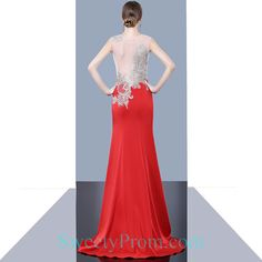 Illusion Embroidery Beaded Nude And Red Evening Dresses ALS,Illusion Embroidery Beaded Nude And Red Evening Dresses ALS Affordable Evening Dresses, Formal Evening Dresses, Prom Dresses, Embroidery Dress, Beaded Embroidery, Illusion Dress, Illusions, Nude, Fashion