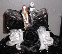 Black and Silver Nightmare Christmas Wedding Cake Topper