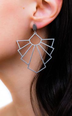 These statement geometric earrings in Art Deco style. Inspired by 1920s geometry and architecture. Unique designer earrings. Modern and stylish.