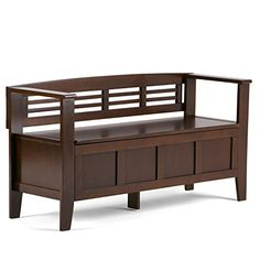 Simpli Home Adams Solid Wood 48 in. Wide Rustic Entryway Storage Bench in Light Avalon Brown - The Home Depot Entryway Bench Storage, Bench With Storage, Storage Spaces, Storage Benches, Door Bench, Shoe Storage, Outdoor Storage, Rustic Entryway, Thing 1