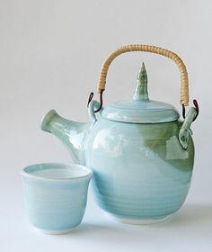 Wheel Thrown Porcelain light blue whimsical Teapot with teacup - etsy creamicpix $85
