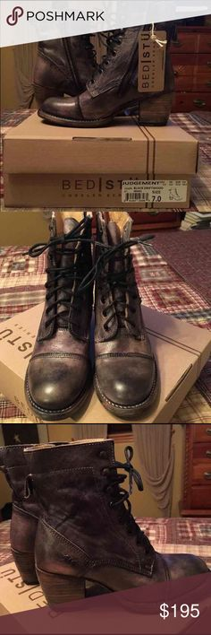 Women's Bed Stu Judgement combat boots ******SELLING FOR LESS ON OTHER SITES***** Women's Bed Stu Judgement. Black driftwood color. Size 7. Brand new in box. New $240 Free People Shoes Combat & Moto Boots