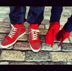 f230c46aa208 his  red spiked louboutin sneakers. hers  red suede christian louboutin daf  booty.