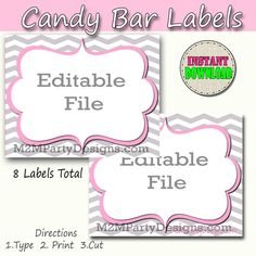 Instant Download! These Candy Labels are perfect for your next party. *You get 8 lables on one EDITABLE PDF FILE sheets as shown in the FIRST