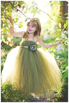 Willow Green Tutu Dress w/ Flower Sash  Sizes by littledreamersinc, $100.00