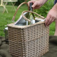 Attractive and practical insulated willow picnic basket for those perfect days out! Picnic Table, Wicker Baskets, Camping, Park, Campsite, Parks, Picnic Tables, Campers, Tent Camping