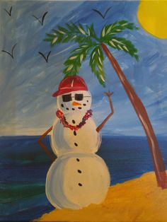 """KIDS PAINTING """"Tropical Snowman"""" 1 hr painting now available for classes"""