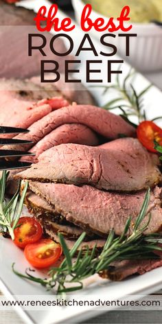 The BEST Roast Beef by Renee's Kitchen Adventures. Eye of Round is oven roasted to a perfect medium rare. Great with au jus or sliced thin for sandwiches. Easy recipe and directions for perfect roast beef. #RKArecipes #roastbeef #roast #beefroast #eyeofround #beef Perfect Roast Beef, Best Roast Beef, Slow Cooker Beef Tenderloin, Best Beef Recipes, Good Roasts, Ground Beef Casserole, Round Roast, Oven Roast, My Favorite Food
