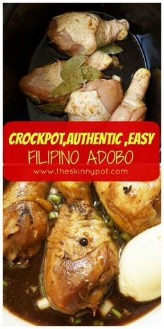 Crock pot or stove top chicken adobo – just like how my mom cook it Slow Cooker Huhn, Slow Cooker Recipes, Crockpot Recipes, Cooking Recipes, Cooking Videos, Pork Recipes, Drink Recipes, Cooking Tips, Chicken Recipes