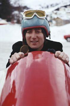 John Lennon tobogganing in Switzerland.