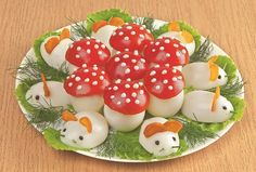 Recipes That Put a Healthy Spin on Deviled Eggs Vegetable Decoration, Food Decoration, Food Crafts, Diy Food, Yummy Appetizers, Appetizer Recipes, Kreative Snacks, Savory Spice Shop, Food Art
