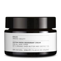 Creme deodorant, der bl.a. består af økologisk sheasmør og kokosolie. Duften er 100 pct. naturlig og allergivenlig. Især velegnet efter barbering.