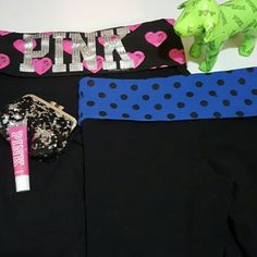 PINK VS Yoga Bundle (2) Awesome Bundle! 1st Pair (pink & black)Boot cut style. Fold down waist w/ gorgeous painted pink hearts and rhinestone PINK letters. *only 1 rhinestone missing*(pic #3) Gently loved. No tears or piling. 2nd Pair (blue & black) Skinny leg style. Fold down waist. Gently loved. No tears or piling. Serious buyers request additional pictures. PINK Victoria's Secret Pants Leggings