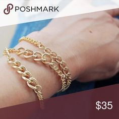 Gold Statement Chain Bracelets Set of 3 gold 14k plated bracelets. Adjustable length of chain one size fits all wrist sizes. Gorgeous statement chain links with different sized chain detailing. The gold bracelets can be worn together as 3 or separated to add to other bracelet combinations and looks. This statement set is perfect to dress up any outfit from day wear with a white tee shirt and jeans, to an evening out as an elegant accent to a dress with heals. WILA Jewelry Bracelets