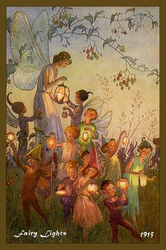 Fairy Lights by Margaret Tarrant from 1915. Quilt Block of vintage fairy image printed on cotton. Ready to sew. Single 4x6 block $4.95. Set of 4 blocks with pattern $17.95.