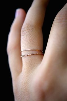 This item is hand-crafted and made to order in Portland, OR.  * ULTRA THIN RINGS*  These stacking rings are perfect for mixing and matching! Either wear them all at once or mix them in with your favorite rings for extra width and sparkle! Each thin ring is individually cut, soldered and