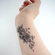 Floral Rose temporary tattoo - Floral, Unique, Tattoo, Woodland, Black, Ink, Flower