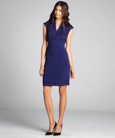 Midnight blue sequined bodice shutter skirt cap sleeve stretch dress
