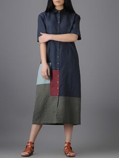Indigo-Grey Button-Down Cotton Linen Dress with Patchwork