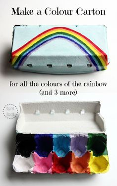 Make an upcycled colour carton - great for fine motor skills and colour sorting - all the colours of the rainbow (and 3 more)!