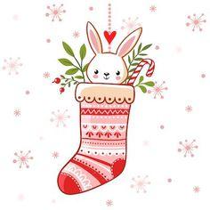 Printable Christmas Cards - Cute Bunny Stocking Free Printable Christmas Cards, Cute Christmas Cards, Merry Christmas Vector, Merry Christmas Greetings, Christmas Icons, Christmas Greeting Cards, Printable Cards, Xmas, Cute Christmas Backgrounds