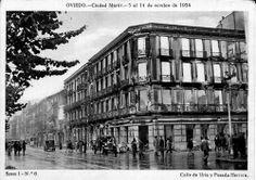 Calle Uria y Posada Herrera. Oviedo 1934 Multi Story Building, Louvre, Street View, Pictures, Travel, Vintage, Oviedo, Antique Photos, Street