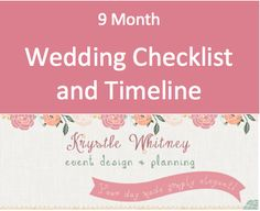 Must have wedding checklist and timeline by Krystle Whitney Event Design and Planning! http://www.thebridelink.com/blog/2013/02/05/wedding-checklist-by-krystle-whitney-design-and-planning/#