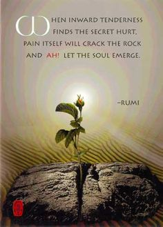 """""""When inward tenderness finds the secret hurt, pain itself will crack the rock and--ah!--let the soul emerge."""" -Rumi"""