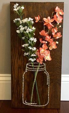 Items similar to Mason Jar Flower String Art on Etsy Handmade customizable mason jar flower string a Diy Crafts To Sell, Diy Crafts For Kids, Arts And Crafts, Sell Diy, Adult Crafts, Mason Jar Crafts, Mason Jars, Diy Niños Manualidades, String Art Templates
