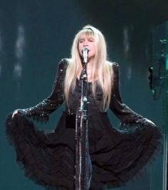 Stevie Nicks in a gorgeous back dress, c 2010.
