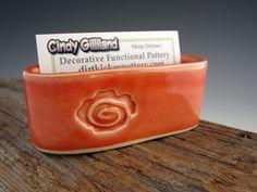347 best creative business card holders images on pinterest in 2018 ceramic business card holder salmon orange flower rose handmade by dirtkicker pottery colourmoves