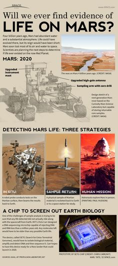 Nasa Infographic: How NASA's next Mars rover could look for signs of ancient Mars life. Sistema Solar, Sonda Curiosity, Cosmos, Ufo, Jupiter's Moon Europa, Space Facts, Life On Mars, Space And Astronomy, Our Solar System